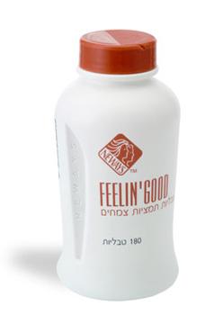 פילינגוד (feelingood) - תוסף סיבים על בסיס צמחי של קליפות פסיליום, זרעי פשתן, שיזפים ותערובת המופקת מ- 11 סיבים צמחיים נוספים ומנרלים. חיוני לניקוי המעיים, יציאות סדירות ולהפחתה במשקל.